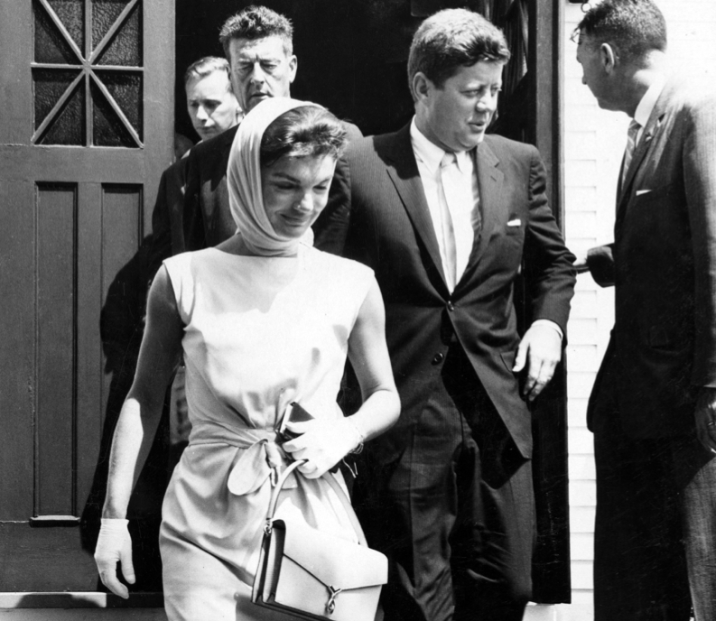 President John F. Kennedy and Jacqueline Kennedy Onassis leaving the St. Francis Xavier Church in the 1960s.