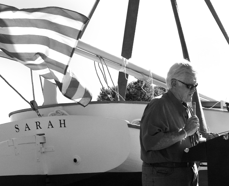 "In 2007 ""Teddy"" addressed a crowd of supporters at the launch of Sarah. Sarah is the official catboat of the Town of Barnstable."