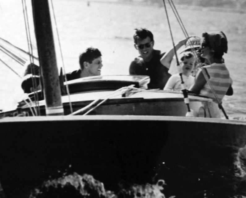 The Kennedys sailing near Hyannis Port.
